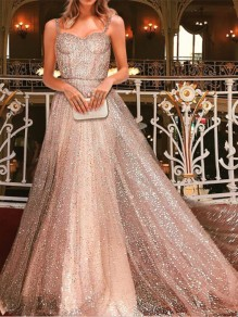 Champagne Patchwork Sequin Spaghetti Strap Prom Evening Party Maxi Dress