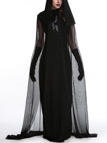 Black Grenadine Tulle Cape Sleeveless Gothic Halloween Witch Costume Party Maxi Dress with Gloves