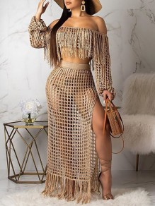 Khaki Cut Out Tassel Off Shoulder Crop Long Sleeve Two Piece Side Slit Beach Maxi Dress