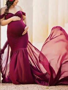 Burgundy Patchwork Flowy Chiffon Draped Off-shoulder For Babyshower Elegant Pregnant Maternity Maxi Dress