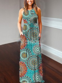 Blue Peacock Print Pockets Loose Round Neck Casual Women Bohemian Maxi Dress