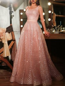 Pink Bronzing Round Neck Prom Evening Party Elegant Maxi Dress
