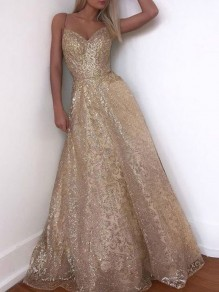 Golden Bronzing Starry Back Lace up Glitter Sparkly Gorgeous Ball Prom Maxi Dress