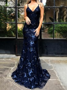Sapphire Blue Tie Back Sequin V-neck Spaghetti Strap Backless Elegant Prom Evening Party Maxi Dress