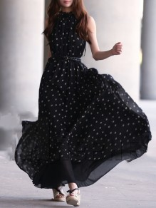 Black Polka Dot Draped Chiffon Big Swing Flowy Casual Women Maxi Dress