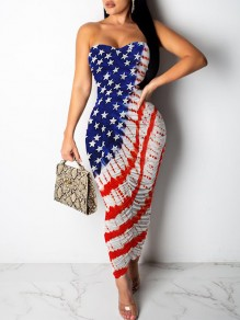 White American Flag Print independence Day Bandeau V-neck Ruched Bodycon Maxi Dress