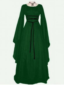 Green Lace Up Pleated Round Neck Victorian Retro Gothic Party Maxi Dress