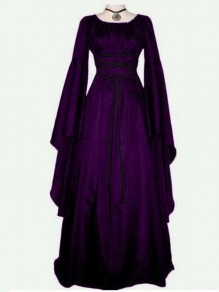 Purple Lace Up Pleated Round Neck Victorian Retro Gothic Party Maxi Dress