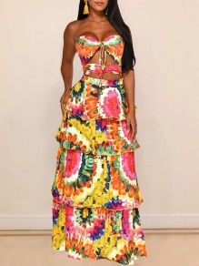 Orange Cut Out Bandeau Lace-up Backless Cascading Ruffle V-neck Party Going Out Maxi Dress