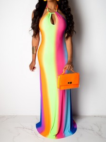 Rainbow Striped Gradient Color Cut Out Halter Neck Backless Big Swing Bohemian Maxi Dress