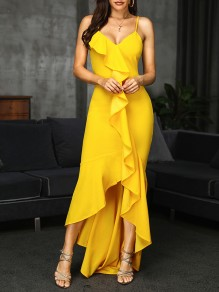 Yellow Patchwork Cascading Ruffle Adjustable-straps V-neck Slit Falbala High-Low Bodycon Elegant Prom Maxi Dress