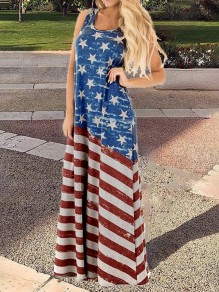 Light Blue American Flag Print Independence Day Plus Size Shoulder-Strap U-neck Big Swing Maxi Dress
