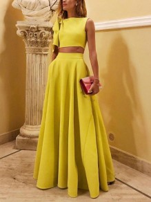 Yellow Irregular Pockets Big Swing Sleeveless Two Piece Elegant Formal Banquet Maxi Dress