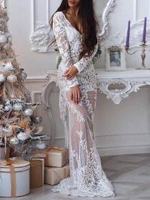 White Patchwork Floral Lace Cut Out Grenadine V-neck Long Sleeve Elegant Wedding Gowns Maxi Dress