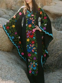 Black Mexican Embroidered Print V-neck Flare Long Sleeve Double Slit Bohemian Maxi Dress