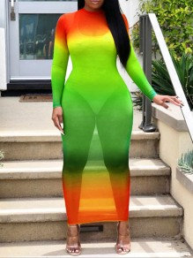Neon Orange Grenadine Gradient Color Round Neck Long Sleeve Bodycon Clubwear Hot Sheer Cover Up Maxi Dress