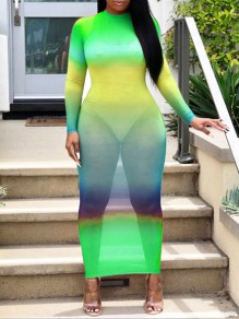 Neon Green Grenadine Gradient Color Round Neck Long Sleeve Bodycon Clubwear Hot Sheer Cover Up Maxi Dress