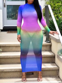 Neon Blue Grenadine Gradient Color Round Neck Long Sleeve Bodycon Clubwear Hot Sheer Cover Up Maxi Dress