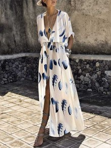 White Feather Print Pockets Deep V-neck Slit Fashion Maxi Dress