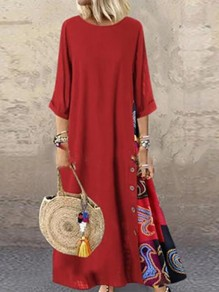 Red Floral Buttons Round Neck 3/4 Sleeve Oversize Vintage Maxi Dress