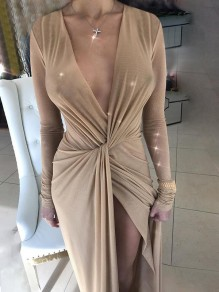 Apricot Irregular Bow Slit High-low Bright Wire Banquet Party Maxi Dress
