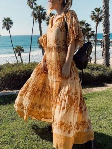 Yellow Floral Pattern Ruffle Loose V-neck Elbow Sleeve Fashion Maxi Dress