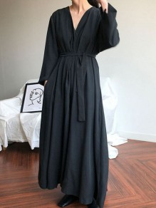 Black Sashes Draped V-neck Long Sleeve Oversize Vintage Maxi Dress