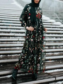 Black Floral Embroidery Grenadine High Waisted Muslim Jamaica Holiday Banquet Party Maxi Dress