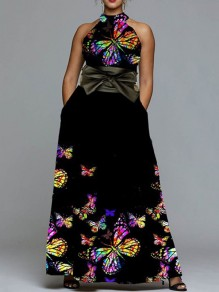 Black Colorful Butterfly Print Belt Halter Neck Sleeveless Big Swing Prom Maxi Dress