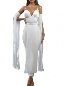 White Patchwork Tassel Shoulder-Strap V-neck Long Sleeve Bodycon Maxi Dress