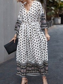 Navy Blue White Floral Single Breasted V-neck Bohemian Maxi Dress