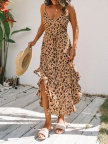 Brown Leopard Ruffle Button V-neck Sleeveless Elegant Maxi Dress