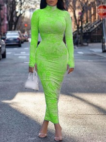 Green Tie Dye Band Collar Long Sleeve Ruched Bodycon Maxi Dress With Gloves Thumb Holes