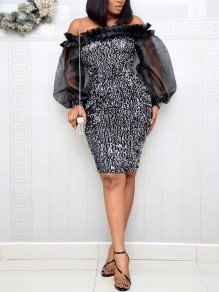 Silver Patchwork Grenadine Sequin Off Shoulder Bodycon Sparkly Glitter Birthday Party Maxi Dress