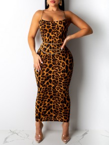 Brown Leopard Print Spaghetti Strap Bodycon Party Maxi Dress