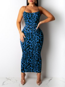 Blue Leopard Print Spaghetti Strap Bodycon Party Maxi Dress