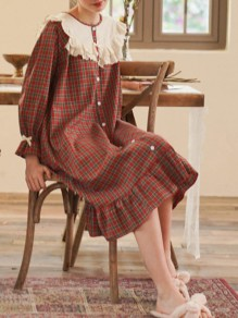 Red Plaid Ruffle Button Round Neck Sweet Pajamas Maxi Dress