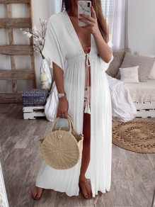 White Lace Drawstring Slit V-neck Elbow Sleeve Bohemian Pajamas Maxi Dress