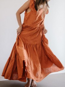 Orange Ruffle Bow Backless Round Neck Sleeveless Bohemian Maxi Dress