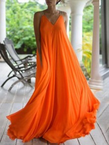 Orange Shoulder-Strap V-neck Sleeveless V-back Chiffon Big Swing Flowy Maxi Dress