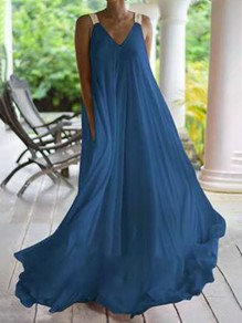 Blue Shoulder-Strap V-neck Sleeveless V-back Chiffon Big Swing Flowy Maxi Dress