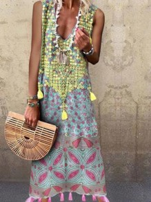 Blue Floral Tassel V-neck Sleeveless Bohemian Beach Maxi Dress
