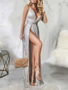 Silver Patchwork Sequin Spaghetti Strap Thigh High Side Slits V-neck Sparkly Glitter Birthday Party Maxi Dress