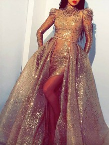 Golden Bright Wire Irregular High-Low Pleated Bodycon Sparkly Glitter Birthday Prom Evening Party Maxi Dress