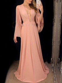 Pink Pleated V-neck Bell Sleeve Chiffon Bridesmaid Prom Evening Party Maxi Dress