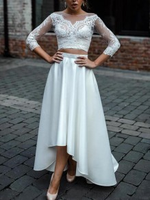 White Floral Lace Irregular 3/4 Sleeve High-low Banquet Elegant Party Maxi Dress