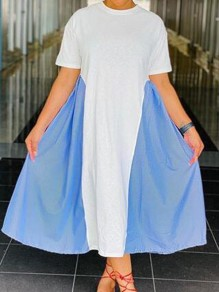 White-Blue Patchwork Draped Round Neck Half Sleeve Casual Maxi Dress
