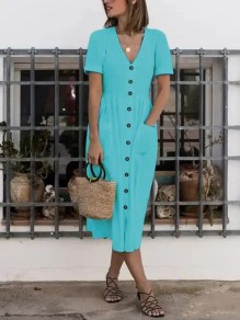 Blue Button Pocket V-neck Short Sleeve Beach Maxi Dress