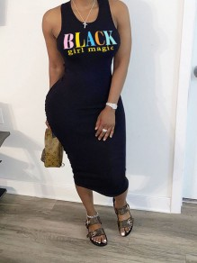 "Black ""BLACK girl magir"" Print Bodycon Casual Maxi Dress"