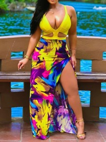 Yellow Floral Spaghetti Strap Cut Out Thigh High Side Slits Plus Size Bohemian Party Maxi Dress
